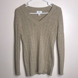 LOFT Cableknit Sweater Beige Gold Metallic Vneck L
